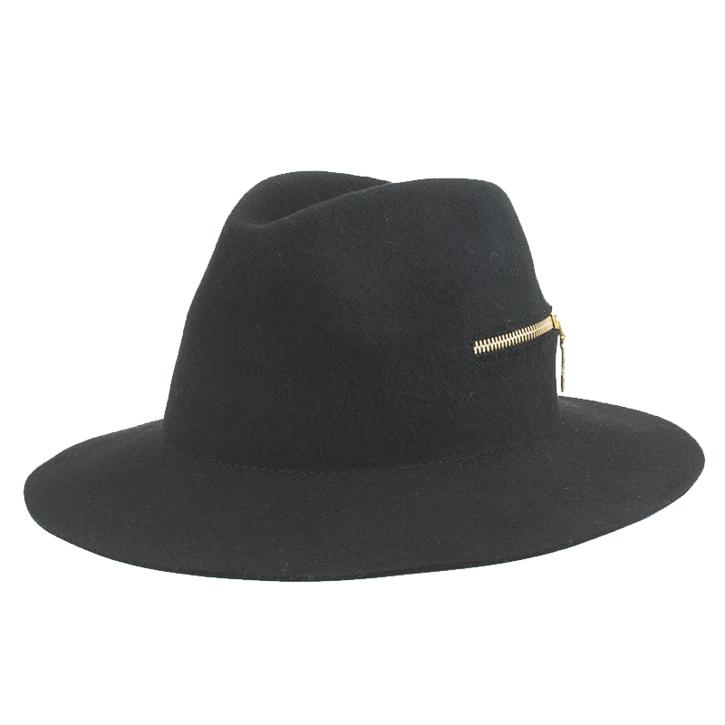02e67e8ce6746 2 kinds of Letter zipper Fedora Hats For Women New dome Rolled Pure Wool  Rims Side fall Winter women fedora hat-in Fedoras from Apparel Accessories  on ...