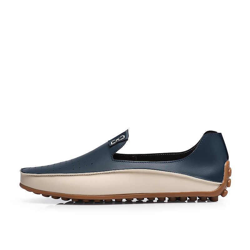 JKPUDUN duży rozmiar prawdziwej skóry mężczyźni buty w stylu casual Slip On buty łodzi luksusowe marki męskie mokasyny mokasyny włoskie buty designerskie