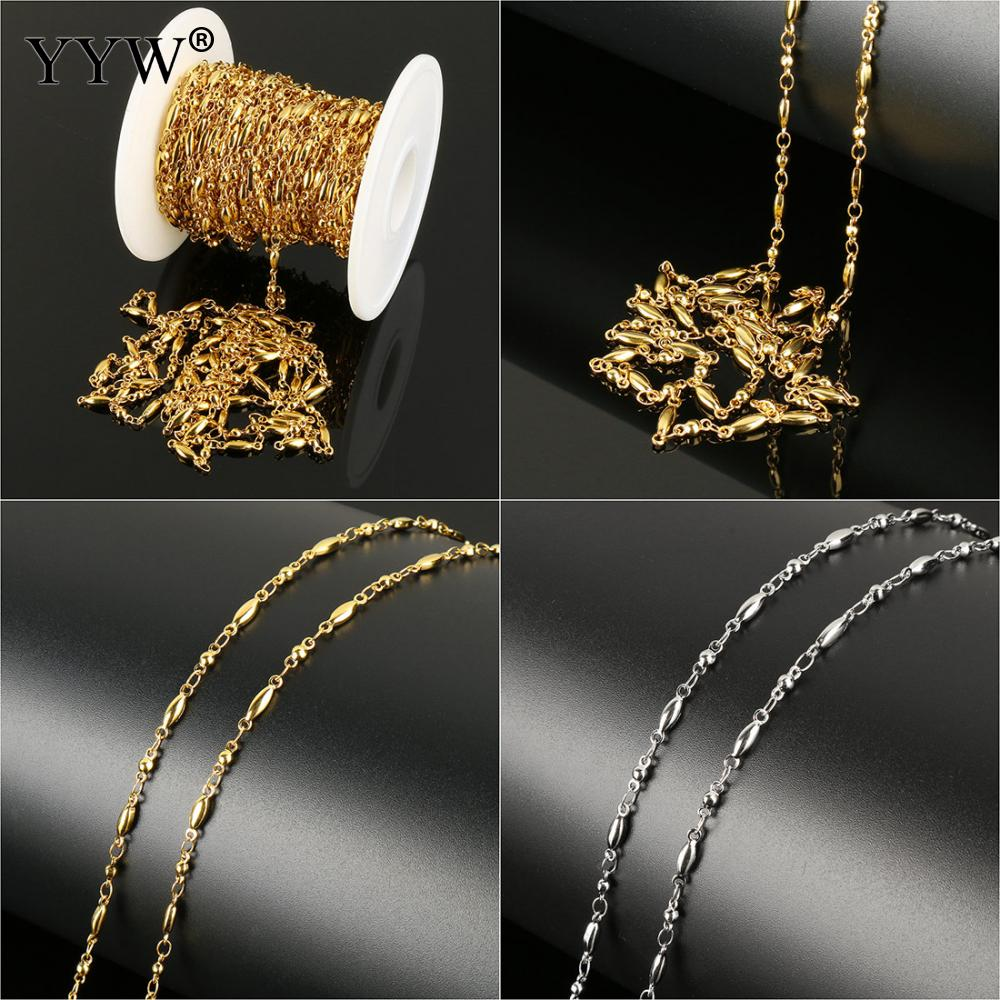 10 m/bobine en acier inoxydable bijoux chaîne amour fabrication de bijoux avec bobine en plastique or chaînes originales 11x3x2mm 6.5x2.5x2.5mm
