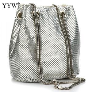 Image 1 - 여성을위한 패션 저녁 파티 클러치 버킷 가방 2019 긴 체인 숄더 백 슬리버 골드 지갑과 핸드백 여성 클러치