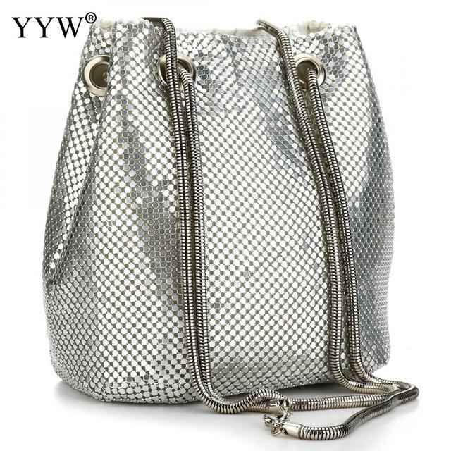여성을위한 패션 저녁 파티 클러치 버킷 가방 2019 긴 체인 숄더 백 슬리버 골드 지갑과 핸드백 여성 클러치