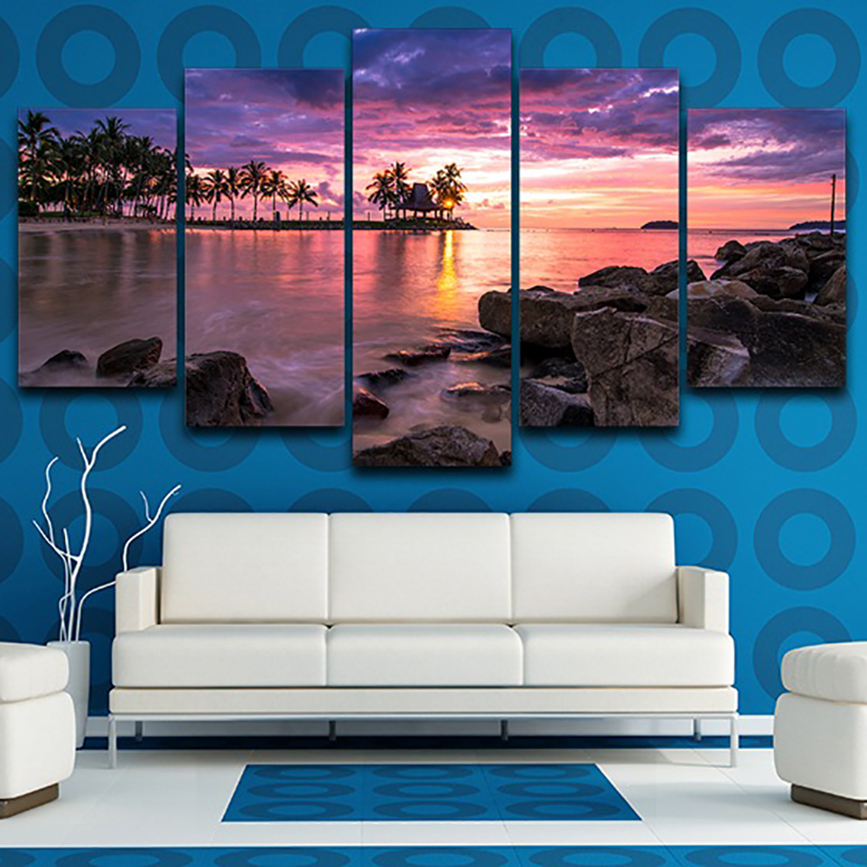 Aliexpress Com Buy 5 Panels Dusk Sunset Boat Printed: Aliexpress.com : Buy Frame Living Room Wall Art Pictures