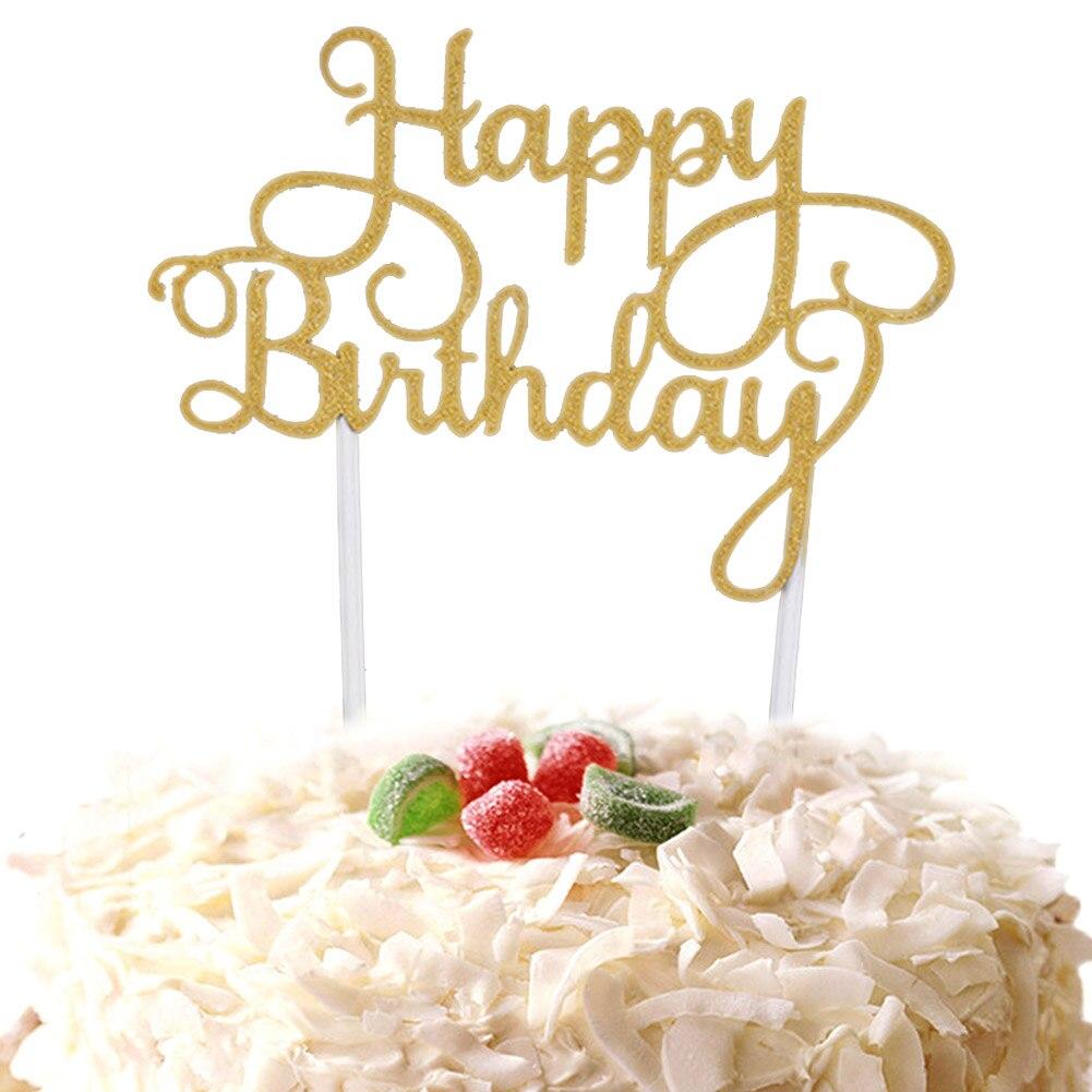 Кекс торт Топпер флаги с надписью Happy birthday двойные палочки для семьи день рождения приборы для декорации выпечки GQ999 - Цвет: Gold