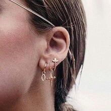 71c43c331cae 5 unids set joyería de moda flor oreja clip Cruz pendientes diseño simple  punk Estilo