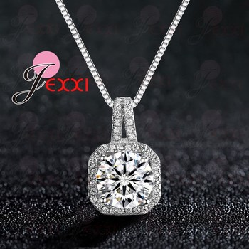 Genuine 925 Sterling Silver Super Shining Square Design Cubic Zircon Pendant Necklaces For Women Bridal Wedding Jewelry