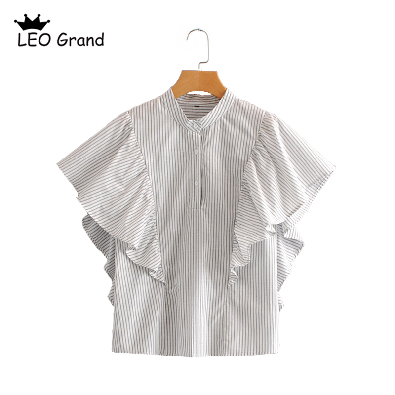 Leo Grand women casual striped stand collar blouses ruffles design butterfly sleeves shi ...