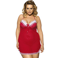 2018 New Hot M 5XL Large Size Women Sexy Lingerie Nightdress Fat MM Perspective Red Backless Pajamas + G string 3 Colours R70156