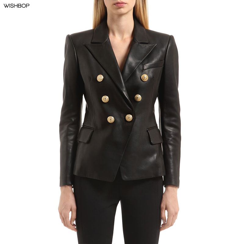Suits & Sets Newest Fall Winter 2019 Designer Blazer Jacket Womens Lion Metal Buttons Double Breasted Synthetic Leather Blazer Overcoat Terrific Value