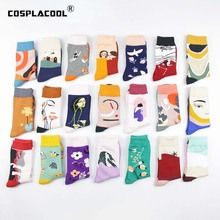 Harajuku Japanese Funny Socks Art Abstract Flowers Bird Patt