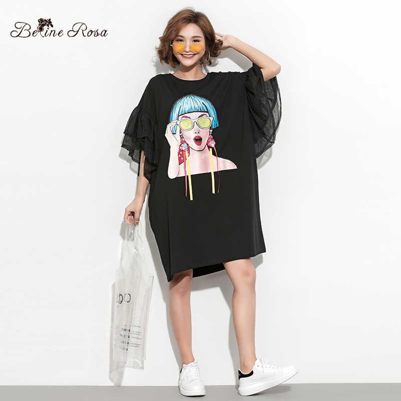 hot-selling newest offer super cute BelineRosa 2019 Women's Big Sizes Tunic Dresses Female Ladies Pattern Flare  Sleeve Fashion Designer T-shirt Dress HS000612