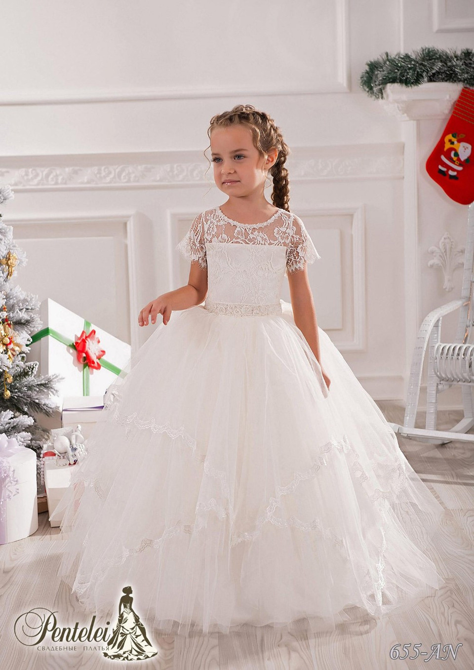 Graceful White/Ivory Ankle Length Tulle Tiered Flower Girl Dress Wedding Hollow Back Ball Gowns Little Girl Evening Gowns 2016