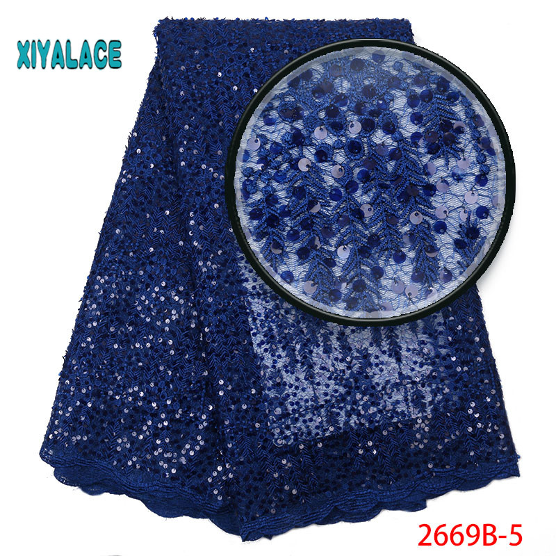 African Lace Fabric  Nigerian Beaded Lace Fabrics African Organza Sequins 2019 High Quality Lace Tulle For Party Dress YA2669-5