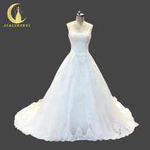 JIALINZEYI Real picture Sexy spaghetti strap Lace A-line Fashion Bridal Wedding dresses Wedding gown 2018