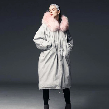 Women Real Fur Collar Thick Duck Down Parka Plus Size 1
