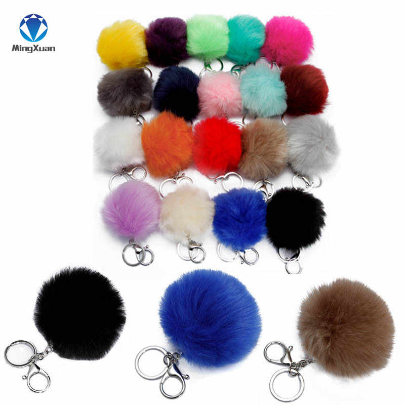 MINGXUAN 1pcs Fake Fur Brand Bag Keychain 8cm Pompom Car Keyring pompons Fake Fox Rabbit Fur Chain porte clef pompom de fourrure