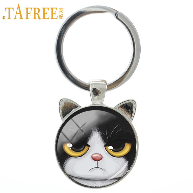 TAFREE 2017 New fashion Grumpy Cat keychain novelty cat ear pendant charms cartoon key chain ring holder men women jewelry CN341 цены онлайн