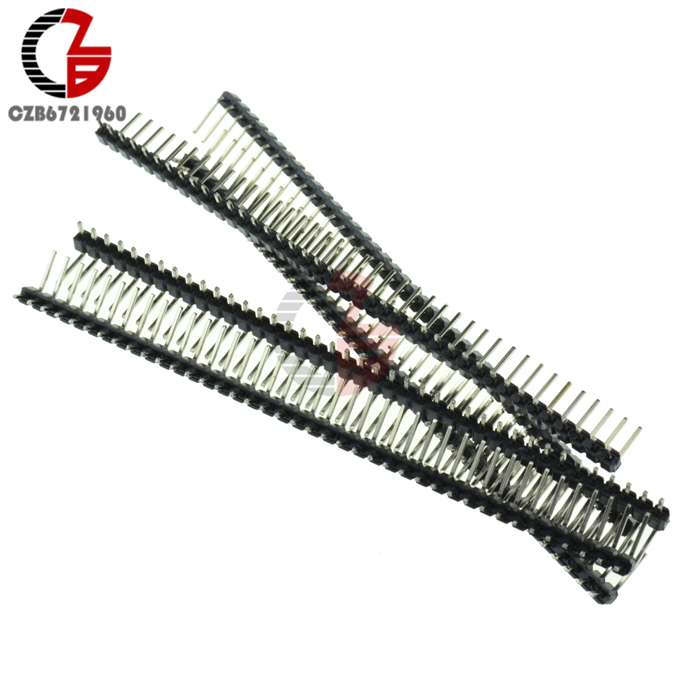 10Pcs 40Pin 2.54mm Single Row Right Angle Male Pin Header Strip DIY For Arduino