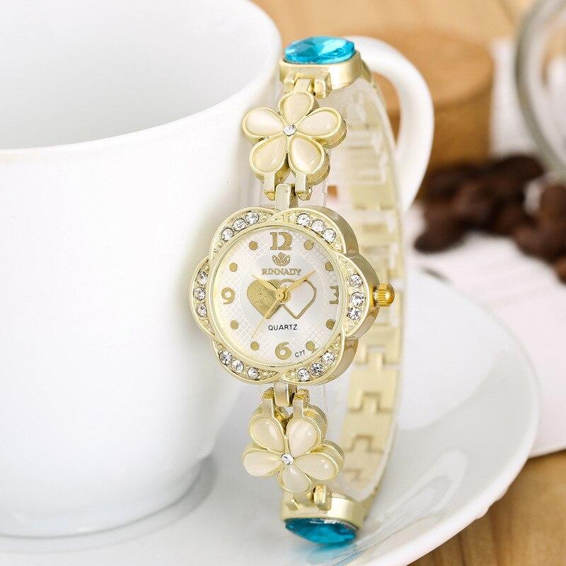 High quality fashion crystal brand luxury gold women quartz bracelet watch R153 gemstone dress watches wristwatches reloj mujer high quality gold bracelet watches women luxury brand leather strap quartz watch for women dress wristwatches female clock ac183