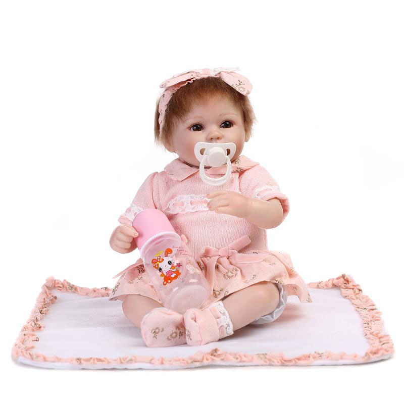 Wear Pink Princess Skirt Reborn Babydoll 17 Inch Safe Silicone Dolls Reborn Girls Toy Lifelike with Rooted Mohair NPK COLLECTION princess 132502 pink