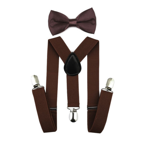 Регулируемая мода мальчиков хлопчатобумажный галстук вечерние галстуки подарок высокое качество для маленьких мальчиков малышей бабочка галстук-бабочка+ на подтяжках комплект одноцветное Цвет - Цвет: Light coffee