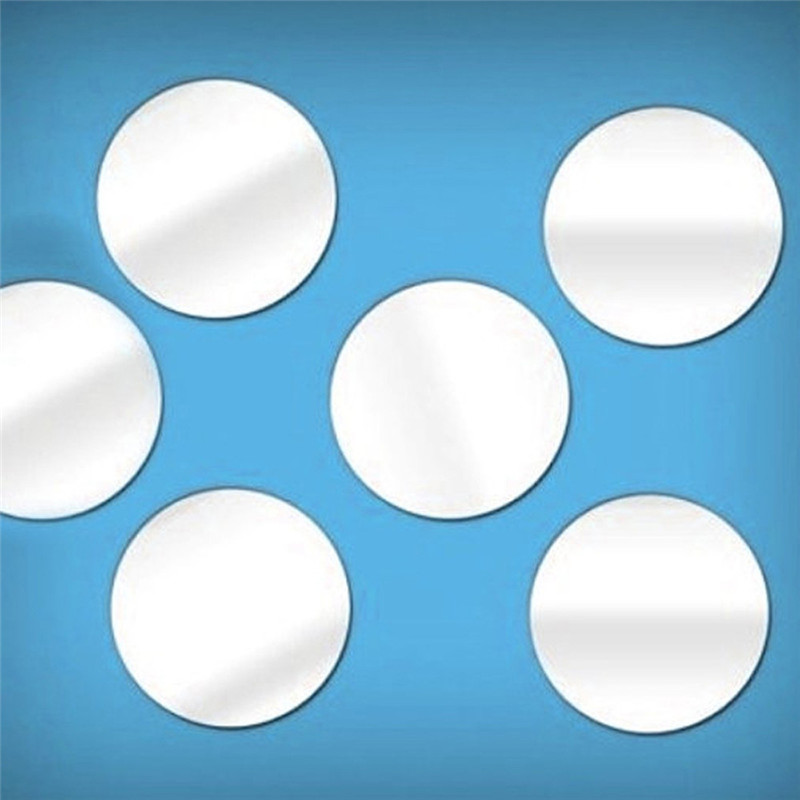 50pcs 5*5CM Round Acrylic Mirror Background Wall Sticker Bedroom Decoration 3D reflecting mirror stickers drop shipping sale