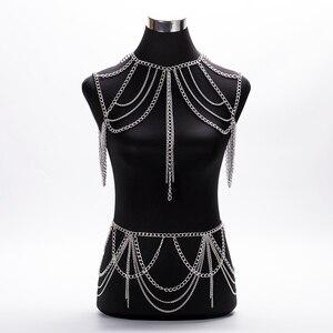 Image 3 - חם 2020 תכשיטים אביזרי פאנק כבד מתכת רב שכבתי ציצית זהב גוף שרשרת ארוך שרשרת הצהרה לנשים