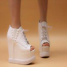 Wedges 2015 women's autumn shoes open toe platform wedges rivet women's shoes high-heeled shoes open toe shoe 15cm