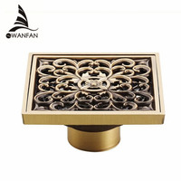 Free Shipping 10 10cm Vintage Artistic Brass Bathroom Wetroom Square Shower Floor Drain Trap Waste Grate