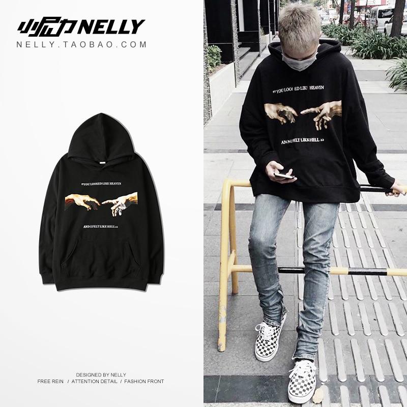 NELLY 2019 Autumn Winter Gesture Print Hoodie Europe and America Fashion Hip Hop High Street Modis Cotton High Quality Sweatshir(China)
