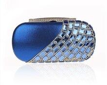 2016 High Fashion Blau Weibliche Zirkon Brieftasche Stil Kette Handtasche bankett Kupplung Mini Tasche Totes Partei Abendtasche Mujer Bolso 0430