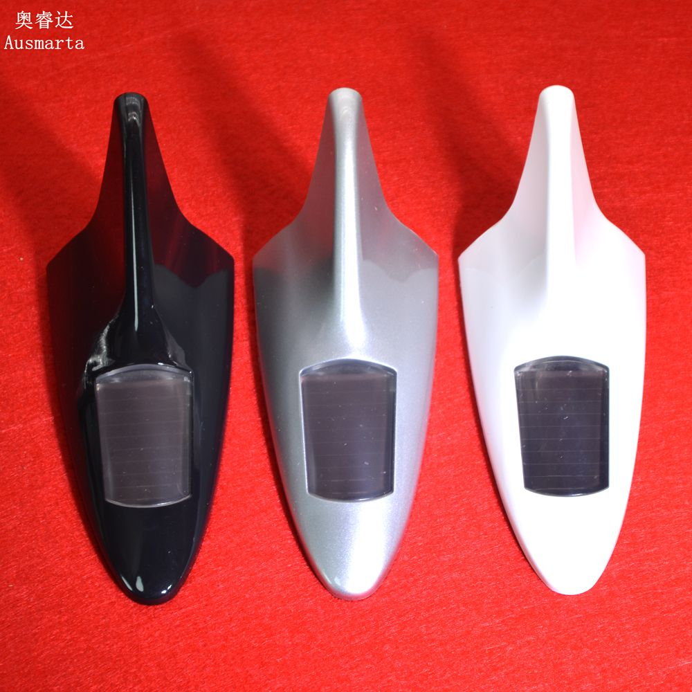 Car solar automatic charging shark fins tail fins LED modified lights warning burst lights 10led inside auto car solar powered led flashing car shark fin warning tail lights with controller universal aerial antenna ad