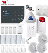 YoBang Security 433MHZ WIFI GSM Home Security Alarm System Touch Keyboard Gas Wireless Smoke Fire PET Friendly Motion Sensor Kit