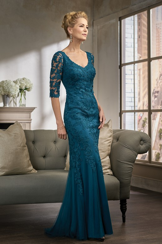 Elegant Floor Length Lace Half Sleeve Mermaid Mother of the bride dresses Plus Size Evening Dresses