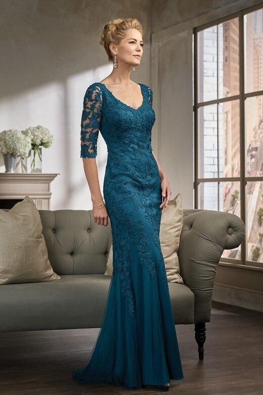 Elegant Floor-Length Lace Half Sleeve Mermaid Mother Of The Bride Dresses Plus Size Evening Dresses Vestido Mae Da Noiva