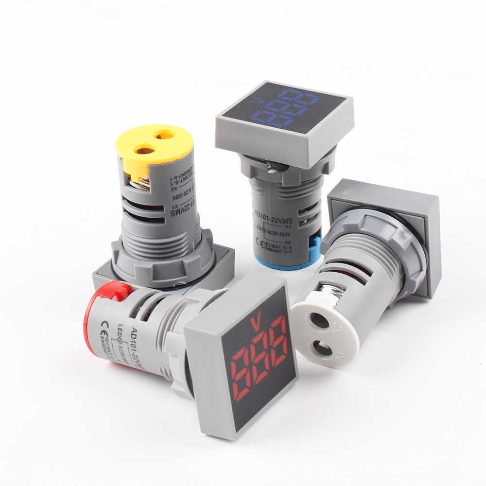 22 мм DIY Мини цифровой вольтметр круглый AC 60-500 В Вольт Напряжение тестер метр монитор Мощность СВЕТОДИОДНЫЙ Индикатор Пилот лампа свет дисплей