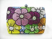 7759 color-B Crystal Floral Flower Lady fashion Bridal Metal Evening purse clutch bag case handbag