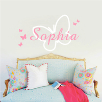 Butterfly Personalized Baby Girls Name Vinyl Butterflies Bedroom Decor Fashion Wall Art Mural Decals Wall Stickers