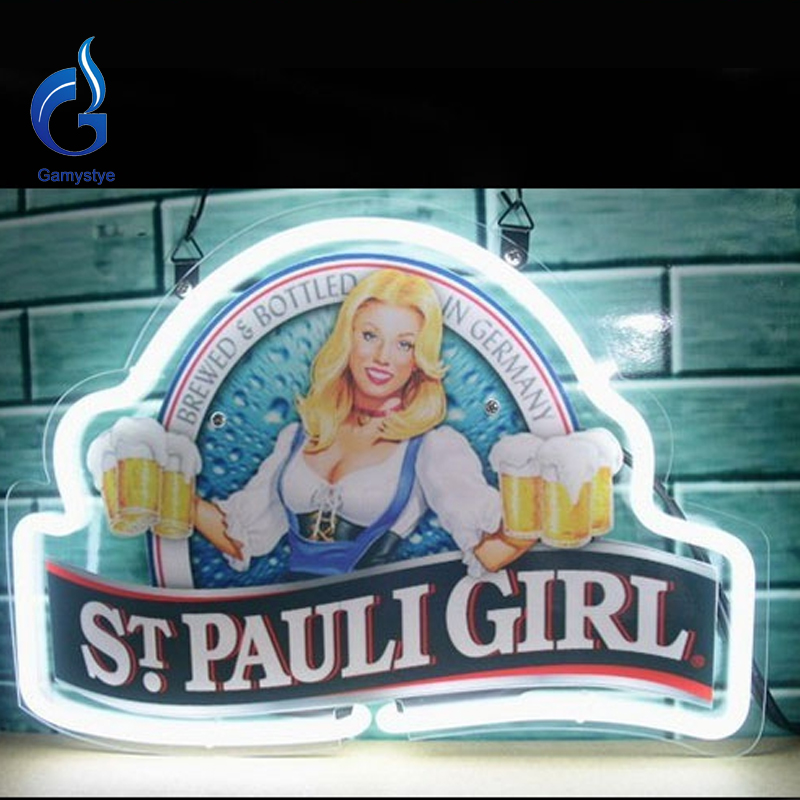 2017 New Neon Sign St Pauli Girl Glass Tube Neon Sign Light Lamp Logo Neon Glass Light Handcrafted Publicidad Sign Board 17x14