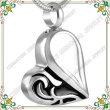 CMJ8216 мода из нержавеющей стали серебро ясень кремации кулон ювелирных изделий кремации пепел ожерелье сердце ювелирные изделия