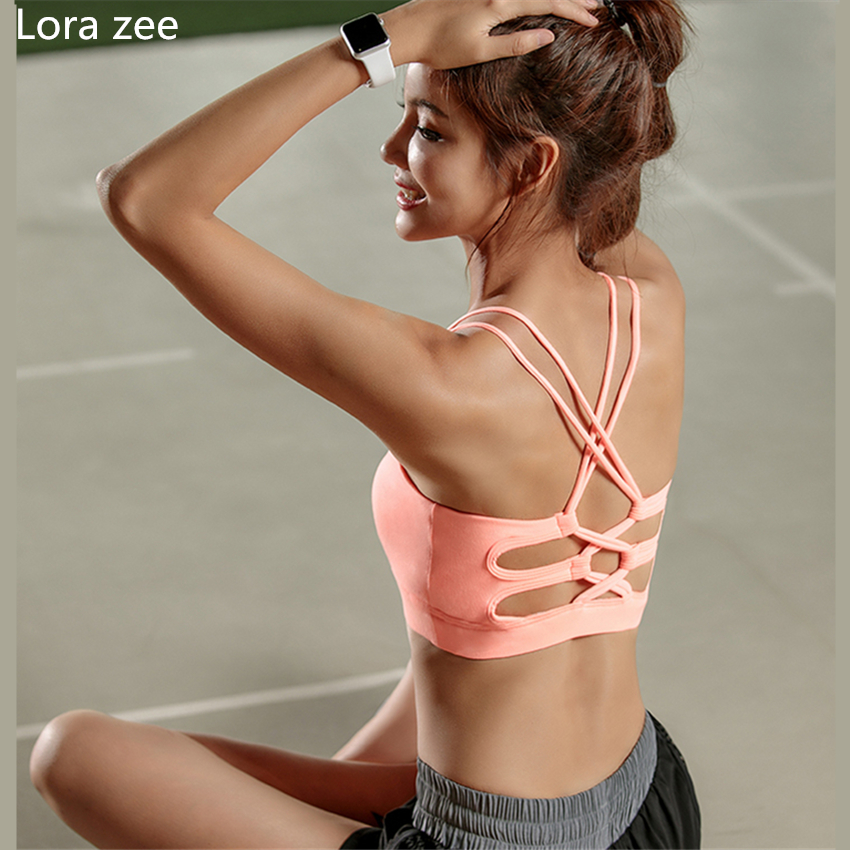High Quality Womens Pink Sports Bra High Impact Cross Back Padded Wireless Workout Activewear Running Yoga Bra Strappy Crop Top back lace up cross crop top and high waist maxi skirt twinset