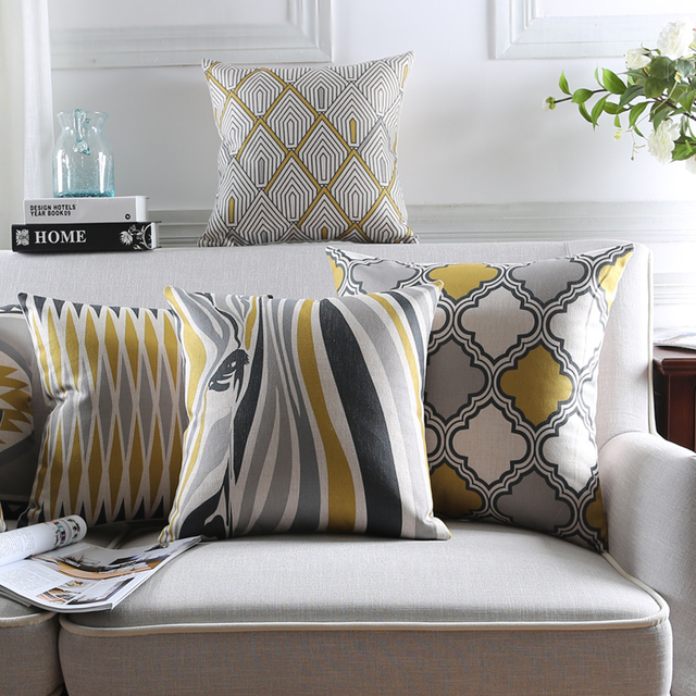 Nordic Style Cushion Covers Home Decor Yellow Decorative Pillows Cases Grey Geometric Striped Pillow Throw