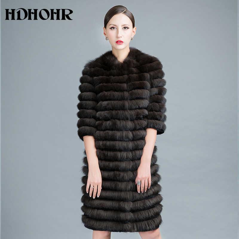 HDHOHR 2019 Высококачественная шуба из натурального Лисьего меха, толстые куртки из натурального Лисьего меха с поясом, зимняя меховая роскошная женская теплая куртка