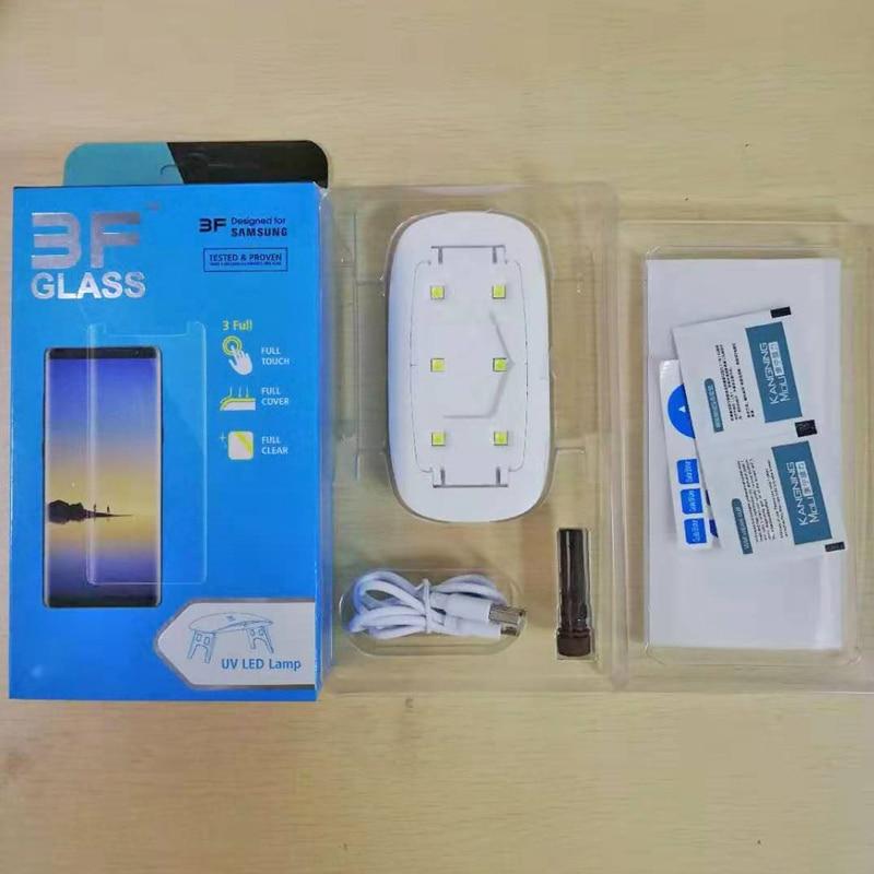 Cola UV líquido Protetor de Tela De Vidro Temperado Para Samsung Galaxy S9 S9 Plus Nota 9 2 PCS Vidro + 2 PCS Cola + 1 Grande Luz