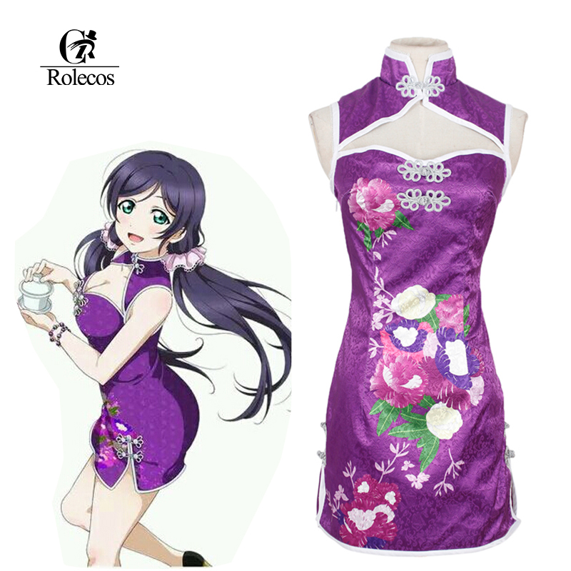 Rolecos Custom-made Anime Love Live Cosplay Costume Tojo Nozomi Chinese Classical Retro Elegant Cheongsam