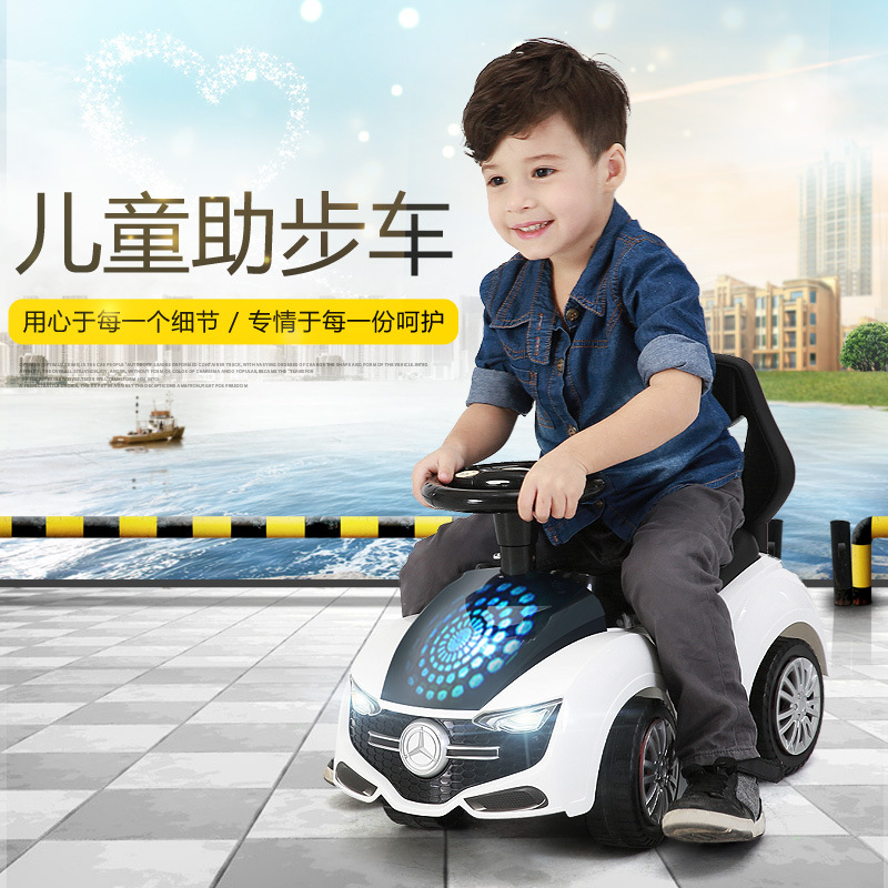Free Shipping Four Wheel Baby Stroller 6M-8Ychildren Ride on Car Baby Walker with Lights Music Early Education Taxi Yo-yo Car