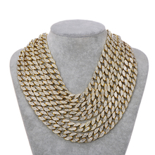 Iced Out Bling Rhinestone Gold Silver Miami Curb Cuban Link Chain Necklace Men's Hip Hop Necklace Jewelry 16/18/20/24 Inch недорого