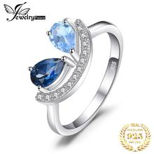 JewelryPalace Fashion 1 ct Pear Natural Sky Blue Topaz & London Blue Topaz Ring 925 Sterling Silver Rings For Women Fine Jewelry недорого