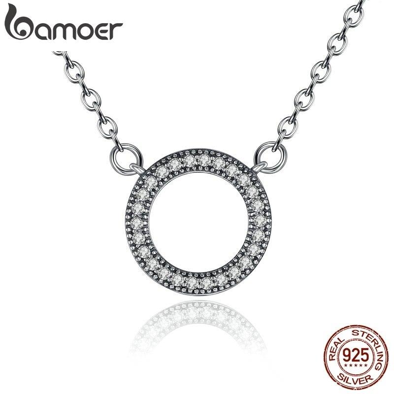 BAMOER 925 en argent Sterling coeurs de marque clair forme ronde pendentif CZ colliers pour femmes bijoux de fête PSN010