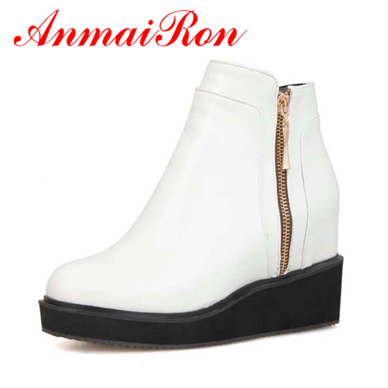 ANMAIRON Size 34-43 New Wedges Design Ankle Heels Platform Ladies Party Women Boots Womens Autumn Boots Winter Shoes Women