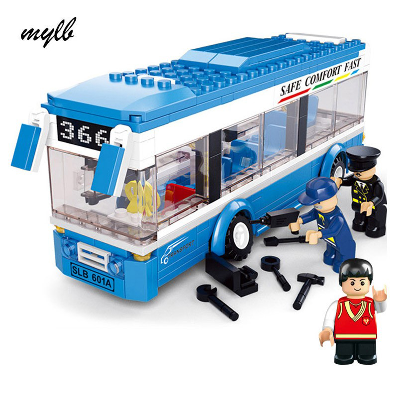 mylb 235pcs City Bus Assembled Monolayer Building Blocks DIY toys Educational toys for Children Best Kids Xmas Gifts decool 3114 city creator 3in1 vehicle transporter building block 264pcs diy educational toys for children compatible legoe